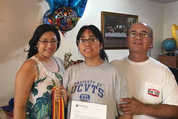 Desiree Armas (center) and her parents, Olga and Carlos Armas, left Peru when Desiree was 3 years old. Her immigration status made finding financial aid for college complicated.