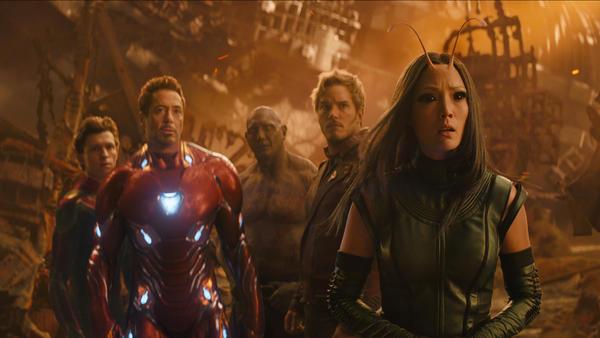 L to R: Spider-Man/Peter Parker (Tom Holland), Iron Man/Tony Stark (Robert Downey Jr.), Drax (Dave Bautista), Star-Lord/Peter Quill (Chris Pratt) and Mantis (Pom Klementieff).