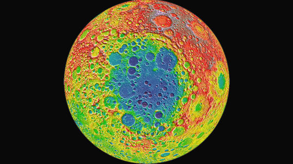 """The Chinese lunar lander <a href=""""https://nssdc.gsfc.nasa.gov/planetary/lunar/cnsa_moon_future.html"""">Chang'e 4</a> is headed to Aitken Basin, a large impact crater near the moon's south pole, pictured here in blue. The distance from the depths of Aitken Basin to the tops of the highest surrounding peaks is nearly twice the height of Mount Everest, according to NASA."""
