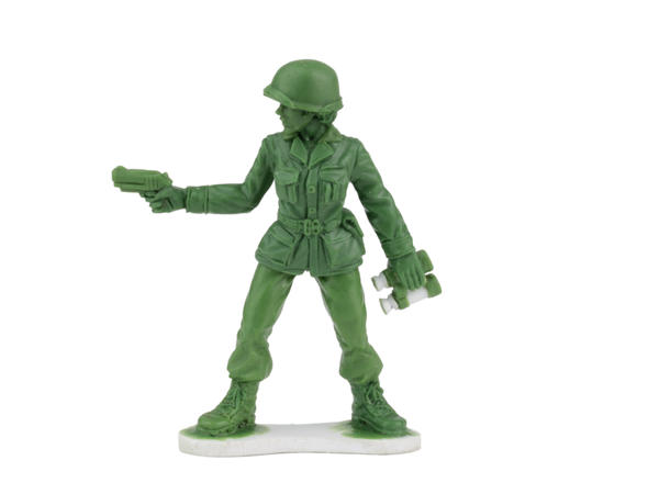 One of the Plastic Army Women that toy company BMC Toys will be introducing next year after a six-year-old girl from Arkansas wrote a letter to the company wondering why there were no female soldiers.