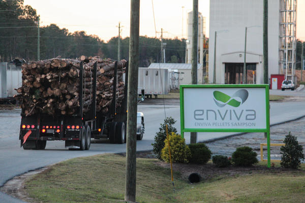 A load of wood enters a wood pellet plant operated by Enviva Partners in Sampson County, N.C. Enviva is one of the largest producers of wood pellets in the U.S.