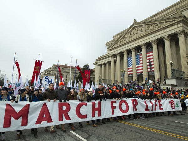 Anti-abortion rights activists march toward the U.S. Supreme Court during the 2019 March for Life in Washington, D.C. President Trump spoke at this year's rally on Friday.
