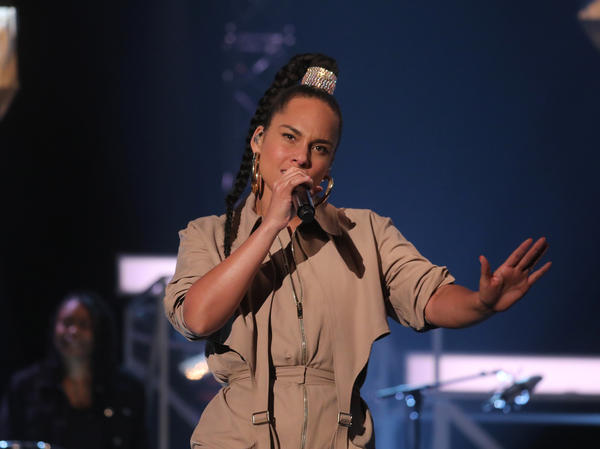 Alicia Keys performs during the filming of the Graham Norton Show at BBC Studioworks in London.