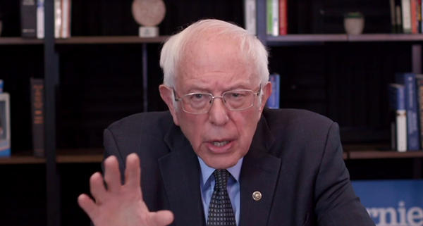 Sen. Bernie Sanders talks about his plan to deal with the coronavirus pandemic during a virtual round table with supporters on March 17.