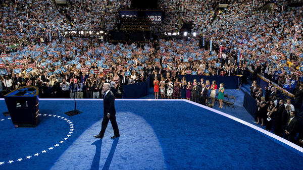 "Joe Biden takes the stage at the Democratic National Convention in 2012. He said it's ""hard to envision"" a similar scene this year."