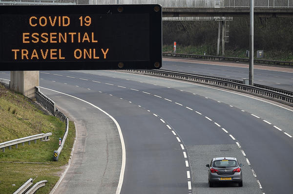 A sign on the M8 motorway last week in Glasgow, Scotland.