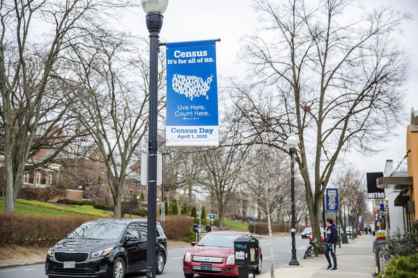 The State College borough hung banners about the census before Penn State switched to remote learning for the rest of the spring semester.