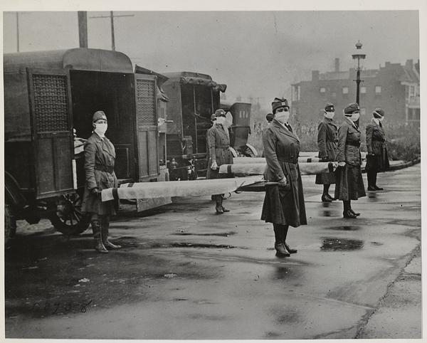 St. Louis Red Cross Motor Corps on duty during the 1918 influenza epidemic.