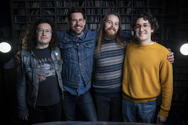 White Denim played a live show in KUTX-Austin's Studio 1A in January. Frontman James Petralli is second from the left.