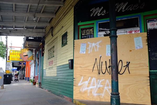 Ms. Mae's in New Orleans is boarded up during its coronavirus closure. March 30, 2020.
