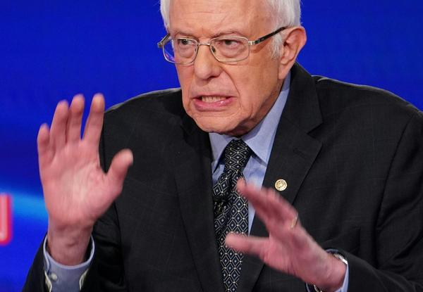 Sen. Bernie Sanders makes a point during the 11th Democratic Party presidential debate in March.