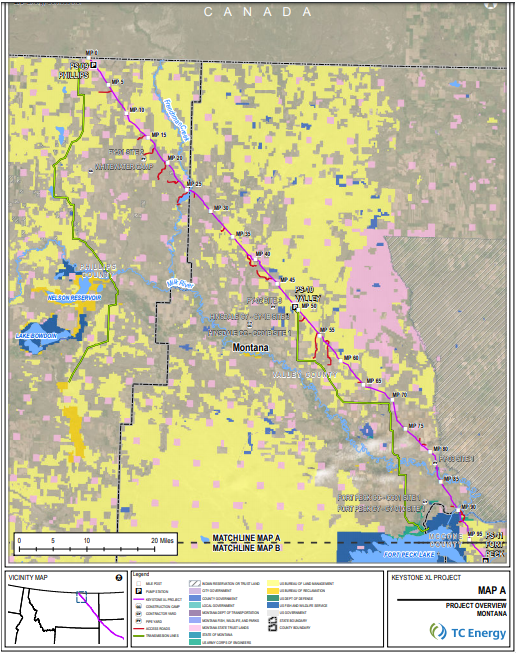 A map of the proposed Keystone XL pipeline route through northeastern Montana.
