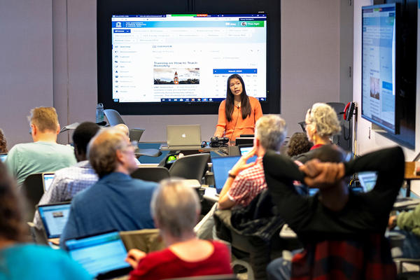 Faculty at the University of North Carolina-Chapel Hill undergo training March 13 to teach their classes online. The university is one of many that have discontinued in-person classes.