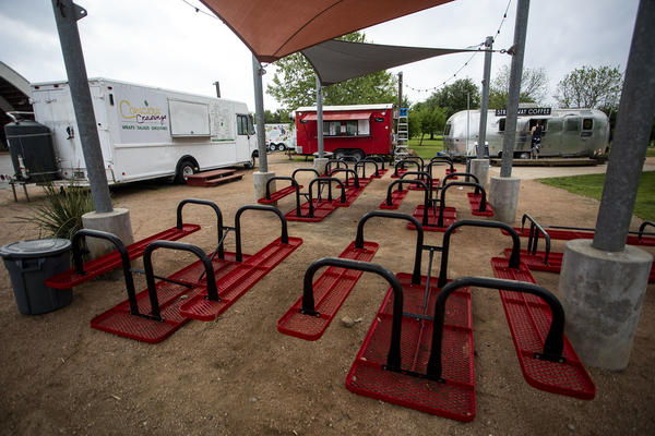 A food truck court in Austin during the coronavirus pandemic.