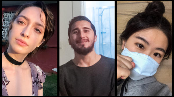 Valentina Constanza Cerda Aravena of Santiago, Chile; Simone Di Benedetto of Italy; and Shin Chai-mi of Daegu, South Korea share selfies from their homes.