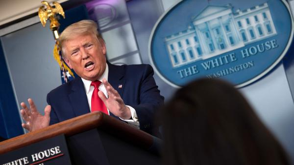 President Trump speaks during the daily briefing Friday on the novel coronavirus.