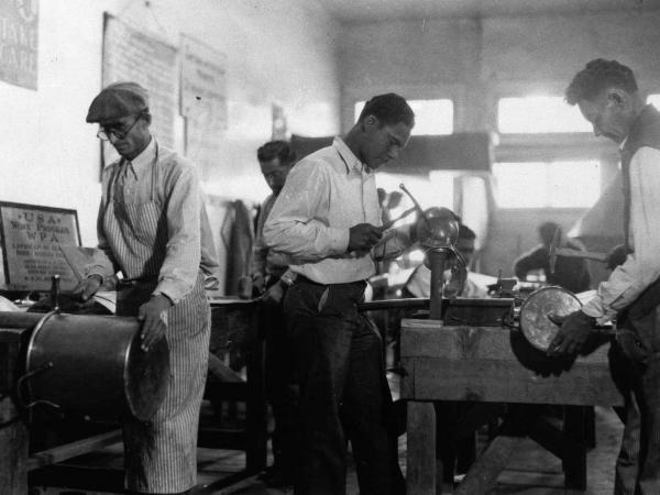 Works Progress Administration workers make copper utensils for Pima County Hospital in Texas in March 1937.