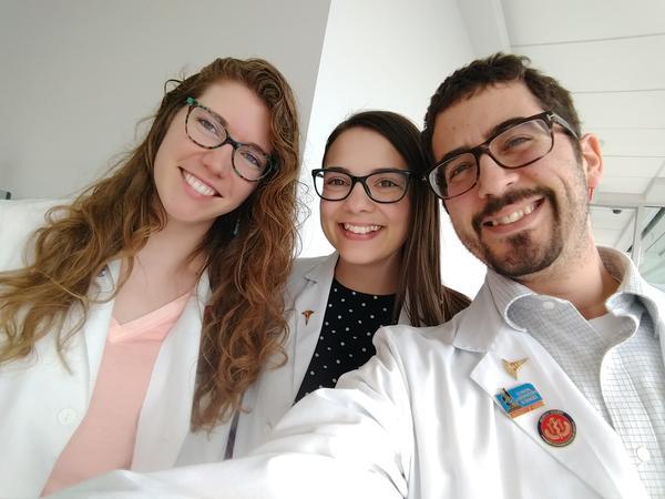 Daniel Ortiz with fellow KU med students Sarah Rucker, left, and Michaelyn Everhart.