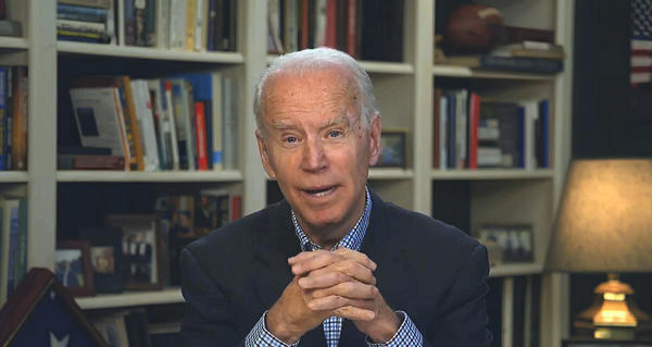 In this image from video provided by the Biden for President campaign, former Vice President Joe Biden speaks during a virtual press briefing Wednesday.