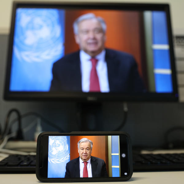 U.N. Secretary-General António Guterres speaking at a virtual news briefing at United Nations headquarters in New York last week. Guterres said Sunday that measures to stop domestic violence should be part of national responses to the COVID-19 pandemic.