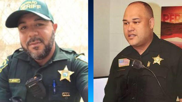 Broward County Sheriff's deputy Shannon Bennett (left) who died Friday, and Palm Beach County sheriff's Sgt. Jose Diaz Ayala, who died Saturday.