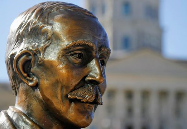 A statue of Samuel Crumbine, a pioneer in Kansas public health, near the Statehouse in Topeka.