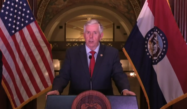 Gov. Mike Parson, seen here issuing a statewide stay-at-home order, says his social distancing directive was the most strict order he's done to help fight the coronavirus in Missouri.