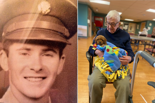 John MacKay, during his service in WWII, and recently at the Holyoke Soldiers' Home. (Courtesy)