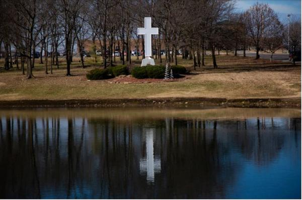 Visitors at the now shuttered Mercy Hospital Fort Scott in southeastern Kansas would pass this tall white cross en route to the hospital's entrance. The hospital closed in December 2018.