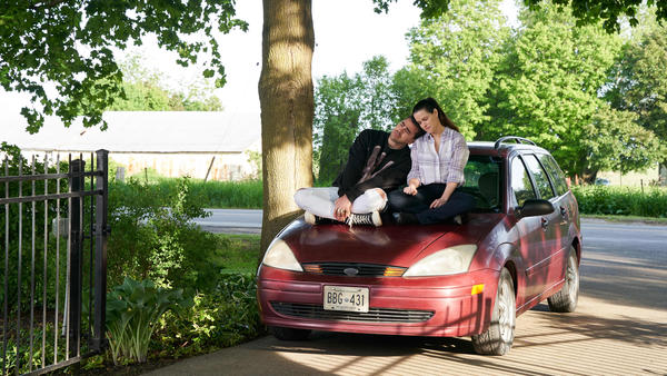 David (Dan Levy) and Stevie (Emily Hampshire) shared a driveway moment in the penultimate episode of <em>Schitt's Creek</em>.