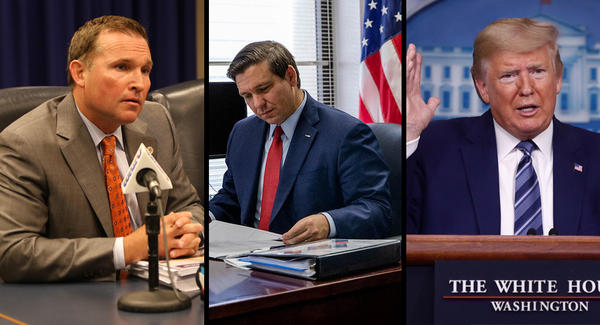 Left to right: Jacksonville Mayor Lenny Curry, Florida Gov. Ron DeSantis, President Donald Trump.