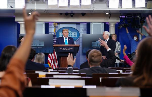President Trump speaks during Tuesday's briefing from the White House coronavirus task force.