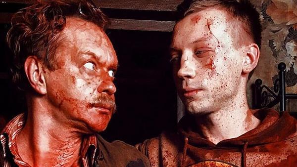 Yevgenich (Michael Gor) and Matvey (Aleksandr Kuznetsov) look sanguine in <em>Why Don't You Just Die!</em>