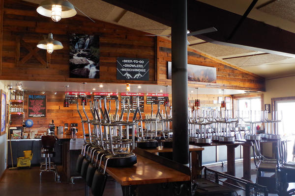 The tap room at Red Lodge Ales Brewing Company sits empty on Apr. 8, 2020.