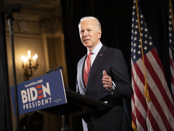 """Former Vice President Joe Biden at a press conference in Wilmington, Del., in mid-March. His bid this week to allow 60-year-olds to get Medicare """"reflects the reality,"""" he says, """"that, even after the current crisis ends, older Americans are likely to find it difficult to secure jobs."""""""