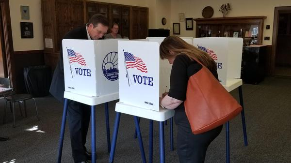 Voters at a Topeka polling place in 2019.