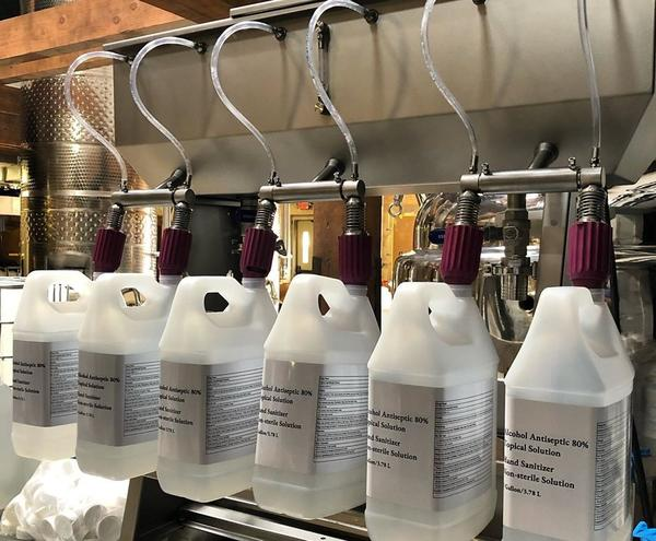 Black Band Distillery has producedabout 2,000 gallons of hand sanitizer in its first week.