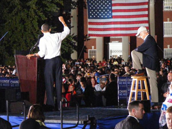 Then-candidates Barack Obama and Joe Biden rally with voters and supporters at Mary Washington University on Sept. 27, 2008, in Fredericksburg, Virginia.