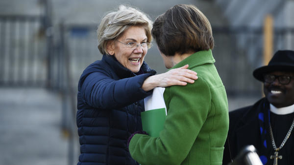 Democratic presidential rivals Elizabeth Warren and Amy Klobuchar say goodbye to each other after Warren's speech at a Martin Luther King Day rally on Jan. 20 in Columbia, S.C. Both women dropped out of the race in early March.