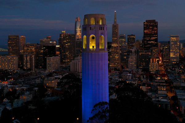 San Francisco's Coit Tower was lit up blue on April 9 as part of a nationwide tribute to health care workers and first responders on the front lines of the COVID-19 pandemic.
