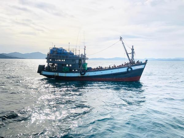 A photo released on April 5 by Malaysia shows a trawler carrying Rohingya migrants off the island of Langkawi. It was not immediately clear if it was the same vessel that was rescued late Wednesday off Bangladesh's coast.