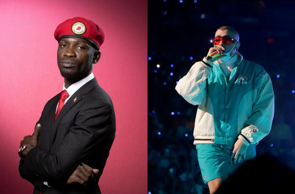 Uganda's Bobi Wine, left, and Puerto Rico's Bad Bunny have released songs about the coronavirus.