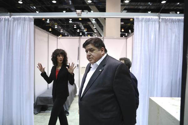 Gov. JB Pritzker tours Hall C Unit 1 of the COVID-19 alternate site at McCormick Place in Chicago earlier this month.