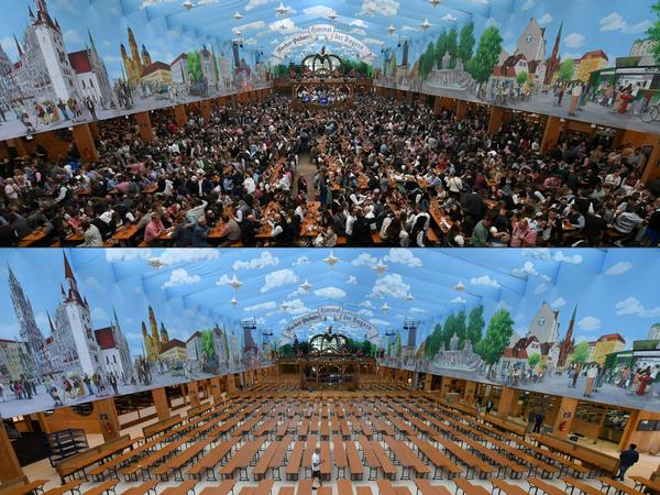 A festival tent at the Oktoberfest beer festival in Munich, southern Germany, last year. Germany's Oktoberfest will be canceled in 2020 due to the coronavirus, Bavarian Minister President Markus Söder said Tuesday.