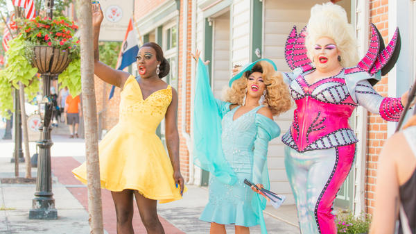 Drag Me To Gettysburg: (l to r) Bob the Drag Queen, Shangela and Eureka O'Hara take small-town America by storm on HBO's We're Here.