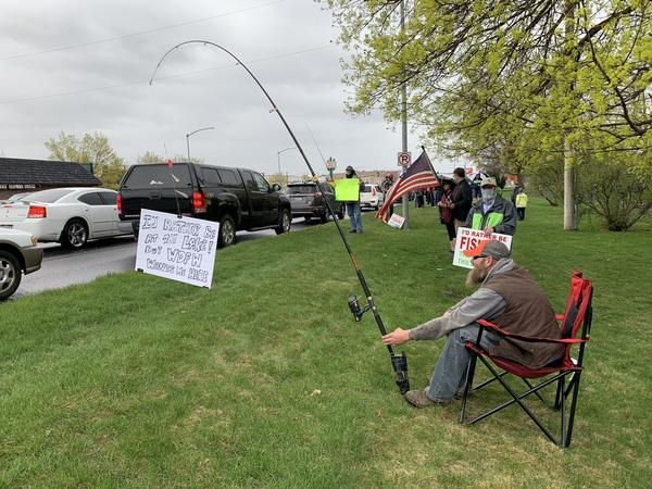 Demonstrators in Spokane's Franklin Park April 22 said they wanted to fish, saying it's one of the most socially distant and isolating activities possible.