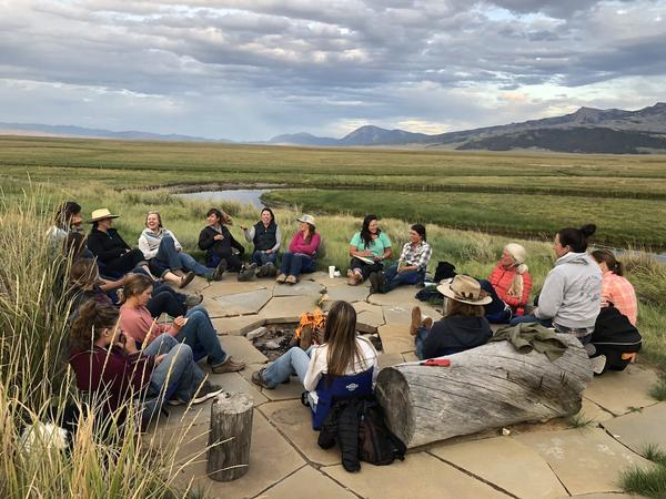 Participants in one of the Women in Ranching Circles gather at the J Bar L Ranch near Twin Bridges, Montana in August 2019.