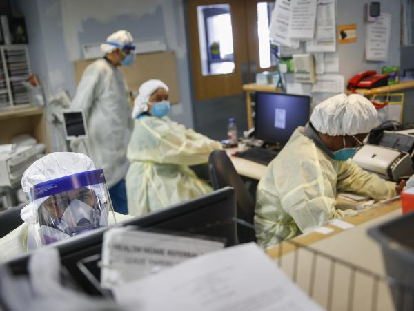 Emergency room doctors and nurses work on Monday at St. Joseph's Hospital in Yonkers, N.Y. New York has seen the most coronavirus-related deaths of any state.