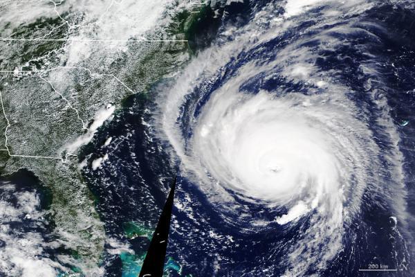 Hurricane Florence heads toward North Carolina in September 2018.