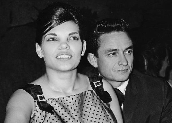 "Vivian Liberto and Johnny Cash in a film still for ""My Darling Vivian."""